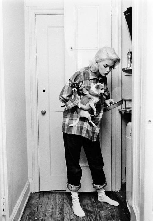 Jayne Mansfield Plaid and Denim Outdoors Woods Camping Fashion Inspiration