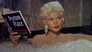 Jayne Mansfield reading Peyton Place in bathtub win the film Will Success Spoil Rock Hunter