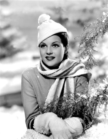 Rita Hayworth winter snow fashion style