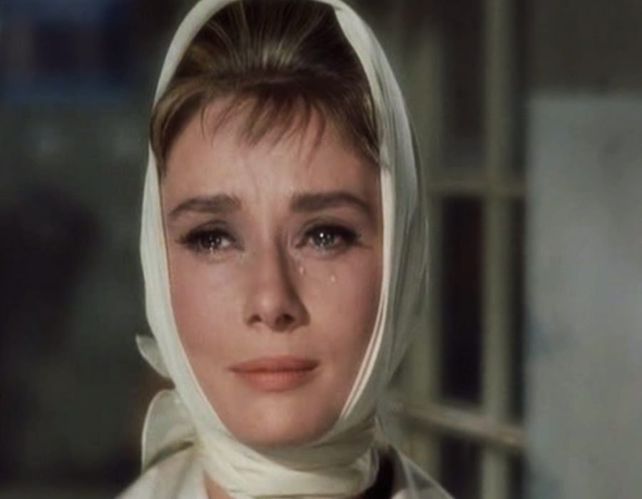 Audrey Hepburn tears in Breakfast at Tiffanys