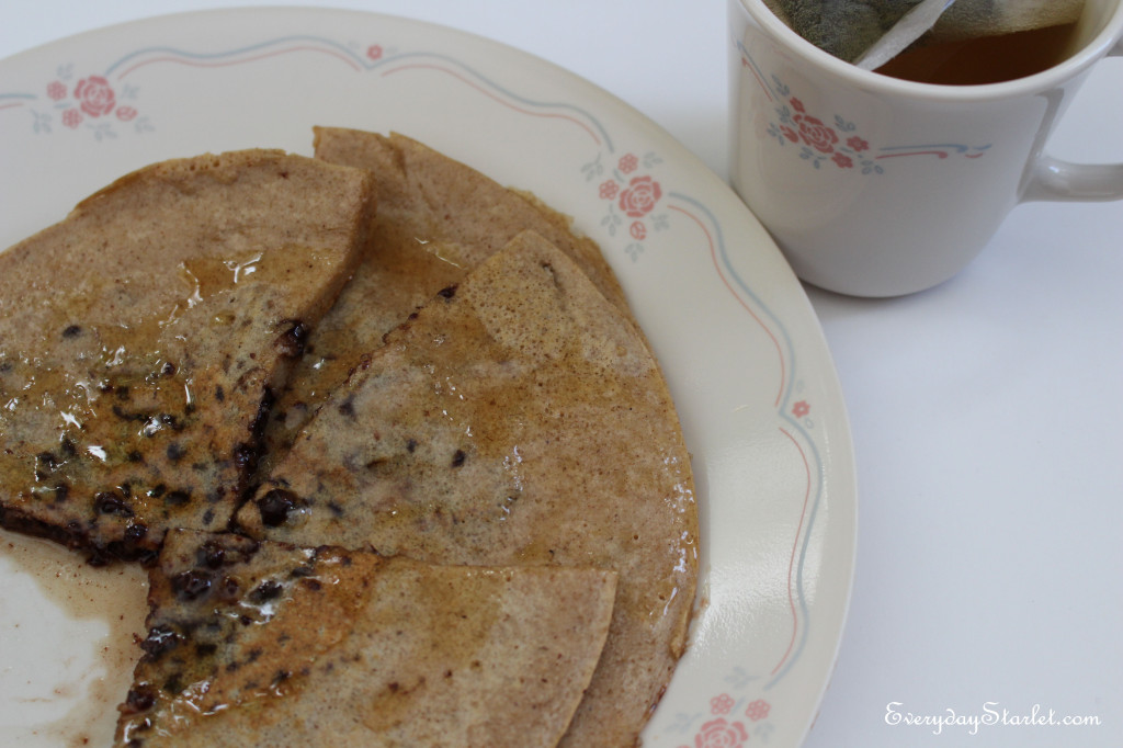Wheat Free, Dairy Free, Protein Chocolate Chip Pancakes and Green Tea