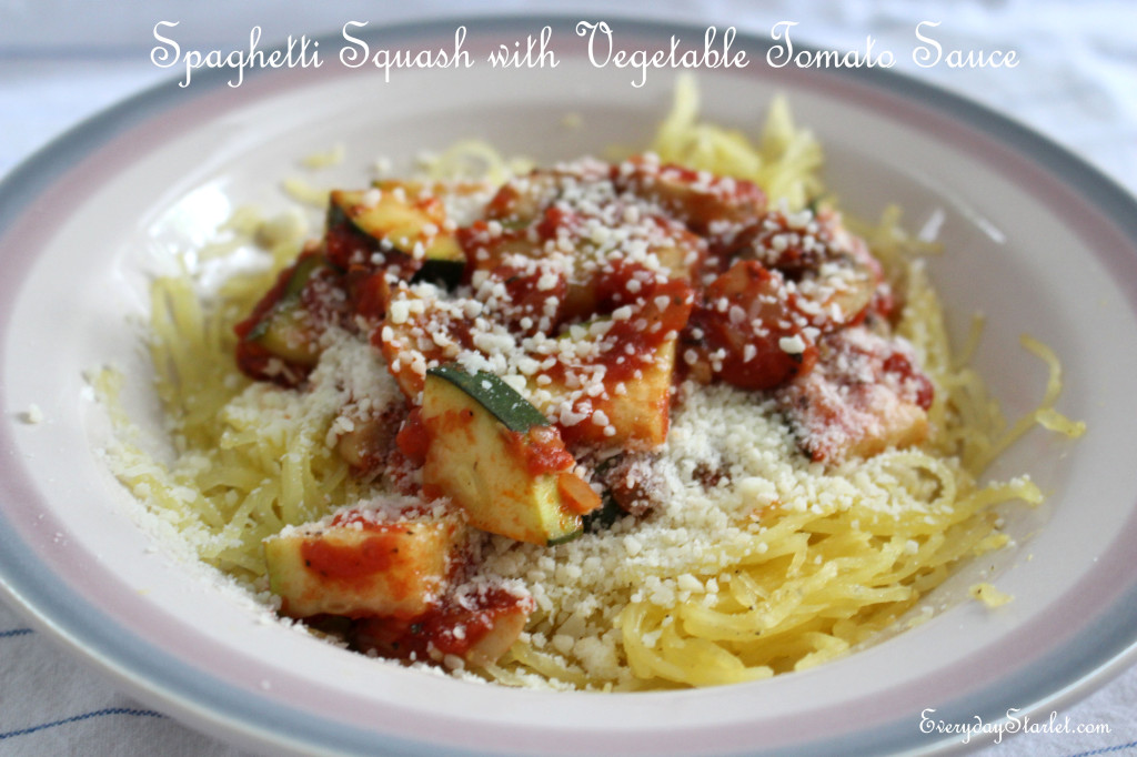 Spaghetti Squash with vegtable tomato sauce