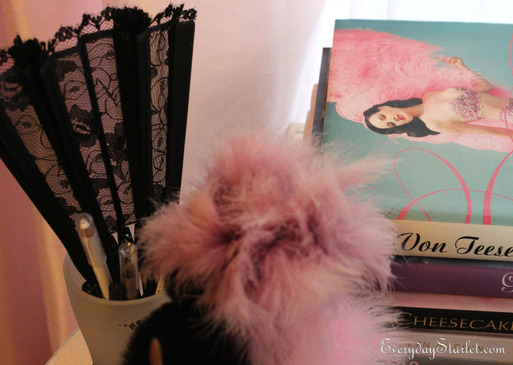 Makeup Tools include lace hand fan inspired by Dita Von Teese