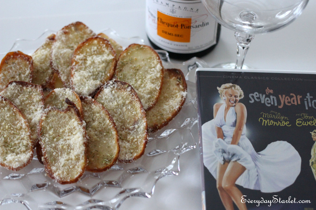 Rosemary Parmesan Truffle Baked Potato Chips, Champagne, and a Marilyn Monroe film,The Seven Year Itch