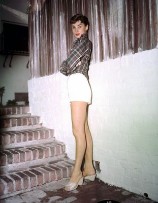 Audrey Hepburn White Shoes Plaid Shirt