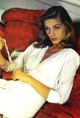 Lauren Bacall Pearls White Shirt