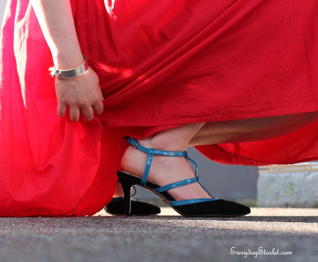 T Strap color block heels with red dress