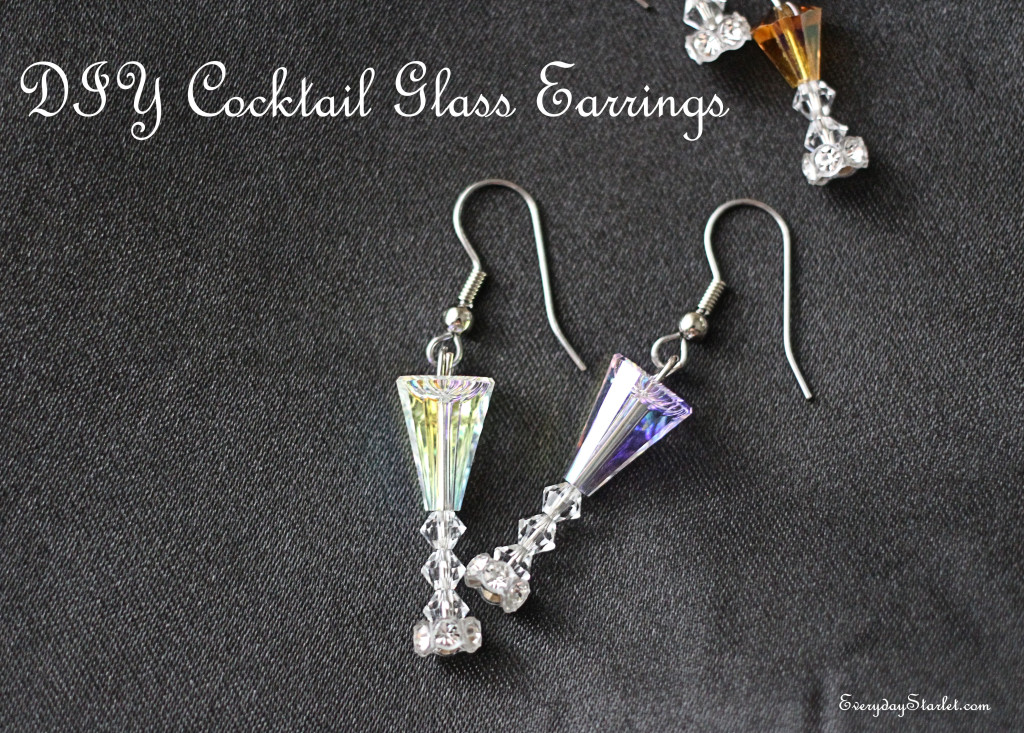 DIY Champagne Martini Cointreau Sidecar Cocktail Glass Earrings