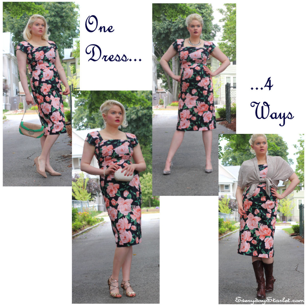 ModCloth dress dark floral 4 differnt looks