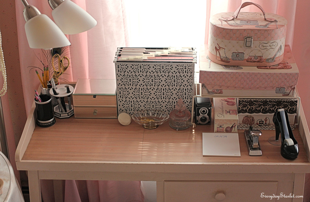Glamorous Desk Workspace Makeover for an Old Hollywood Starlet