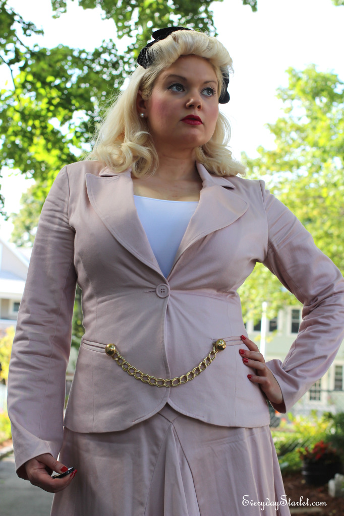 OOTD inspired by Rita Hayworth in Cover Girl w/ pink suit and DIY Chain Accent Pin
