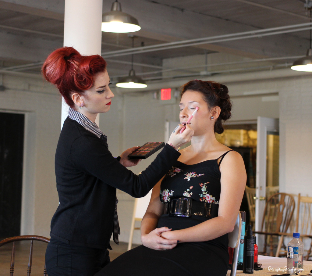 Cherry Dollface Vintage Pinup hair and makeup class with Bomber Betty and Sugar Pill products