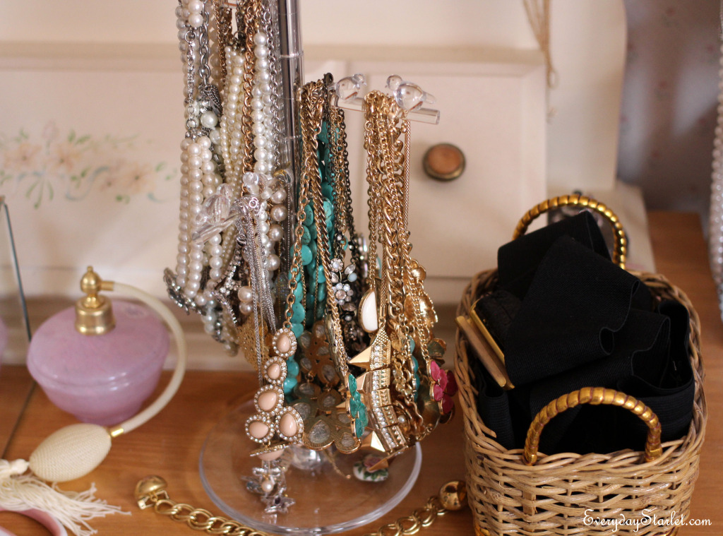 Closet Organizing necklaces belts