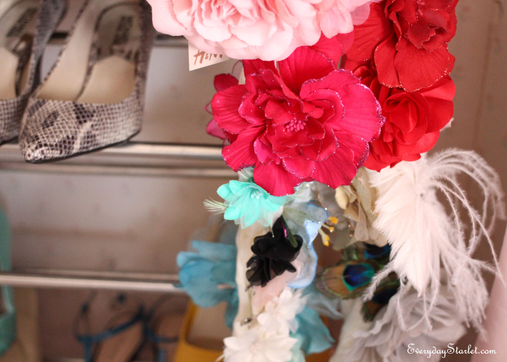 Closet organizing flowers hair accessories