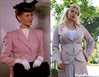 Cover Girl Rita Hayworth inspired outfit pink suit 1940s style vintage