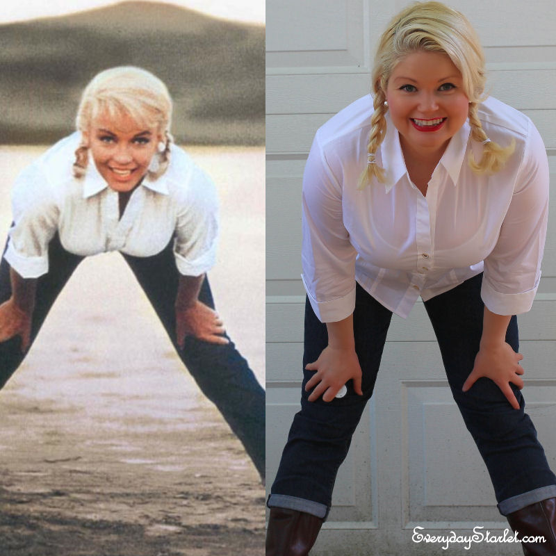 Marilyn Monroe photo outfit inspiration Denim white shirt boots