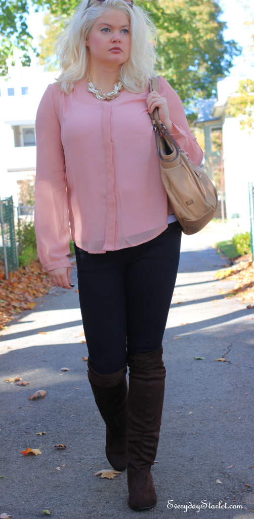 mauve blouse, brown over the knee boots, pearl and gold necklace