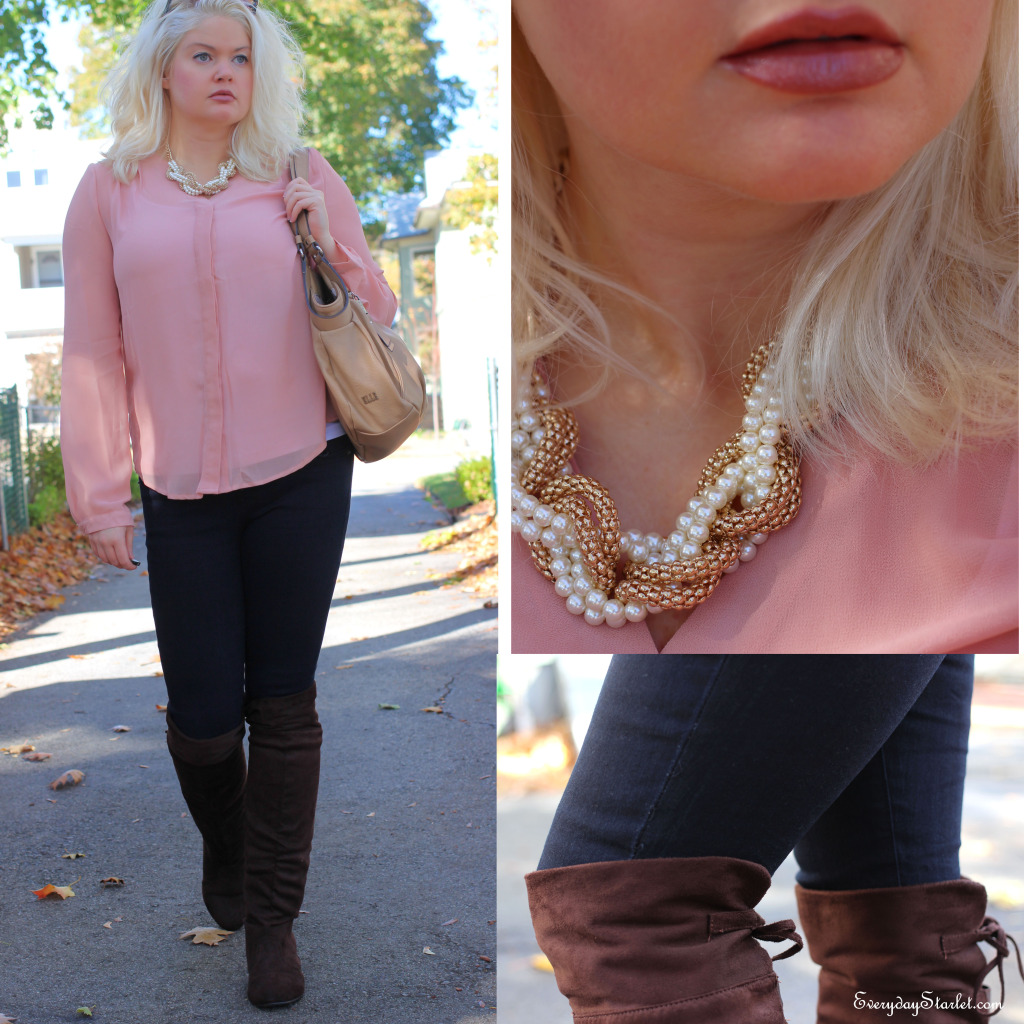Forever 21 Mauve blouse, pearls and gold, over the knee boots