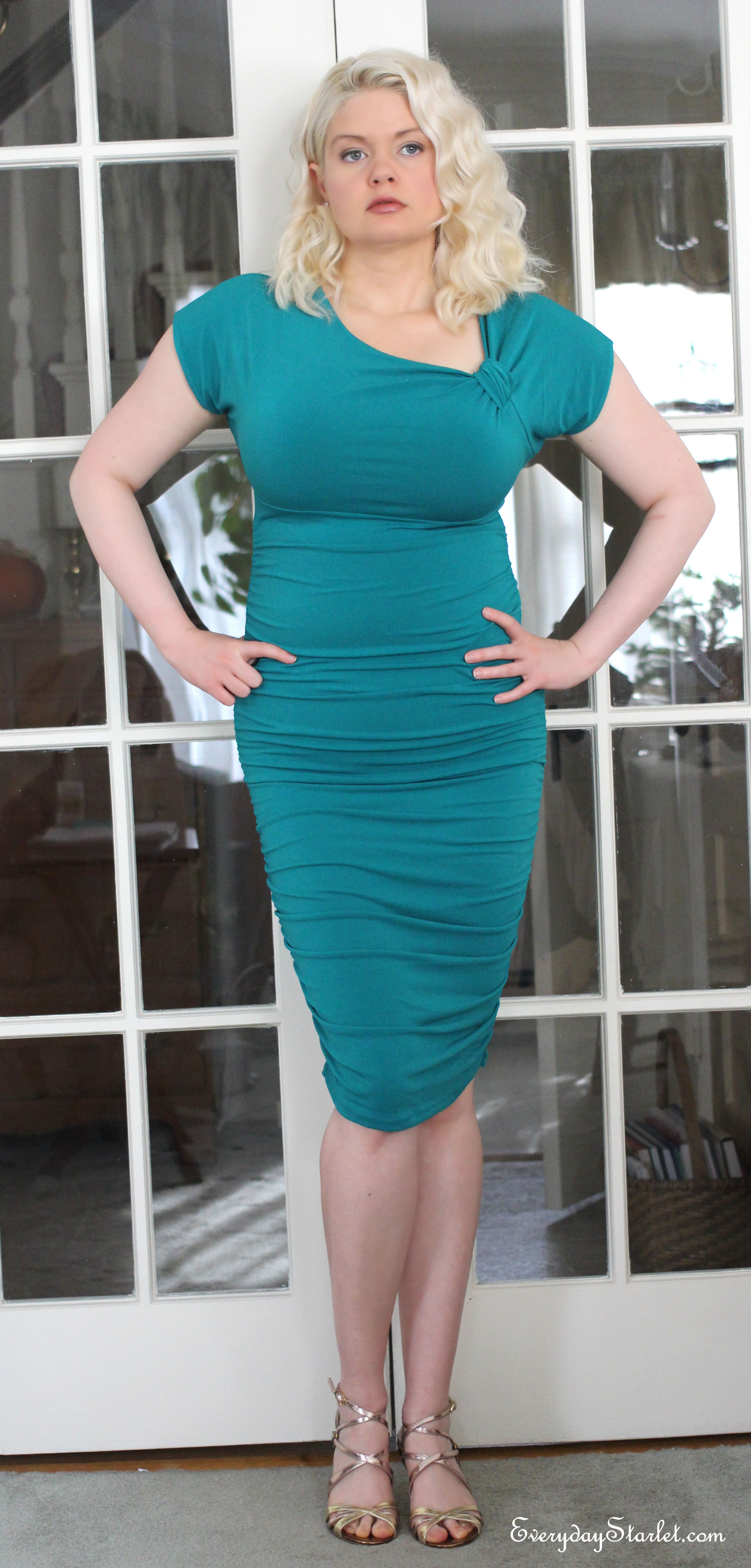 Holiday Party Look: Teal Midi Dress