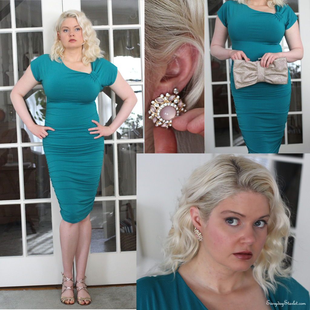 Holiday Party Look Teal Midi Dress gold pink earrings strappy heels Forever 21 Ivanka Trump