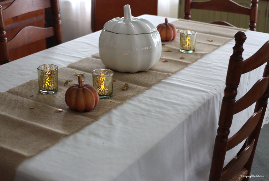 Rustic Glamour Thanksgving Tablescape Pumpkins Gold Michaels Crafts Glitter Leaves