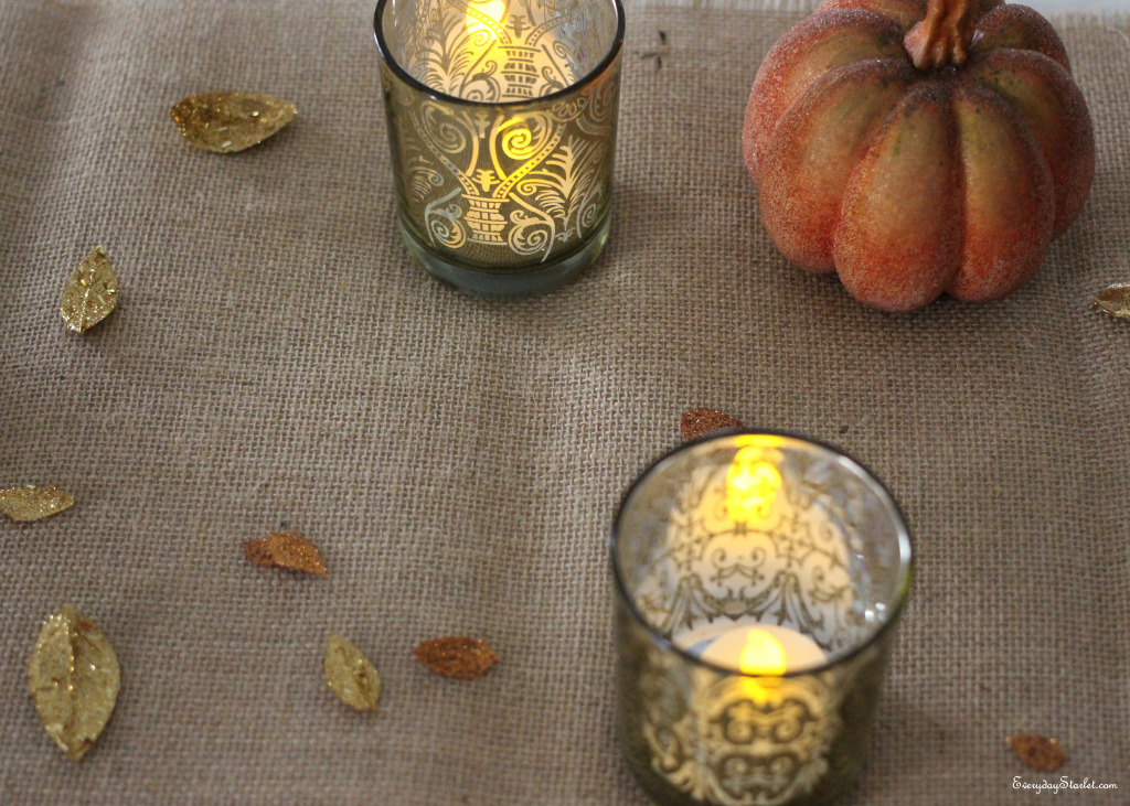 Thanksgiving Tablescape glitter leaves burlap runner votives gold