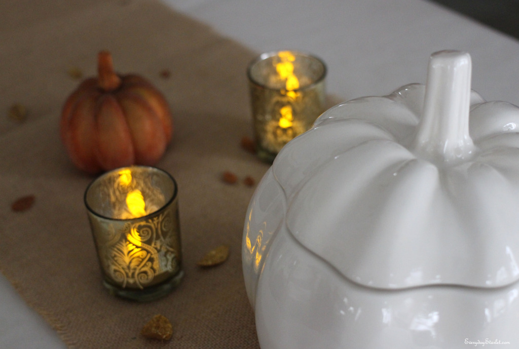 Votives Gold Sparkle Thanksgiving Table White pumpkin