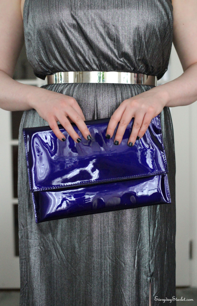 Silver maxi dress, silver metal belt, asos, Forever 21, purple clutch