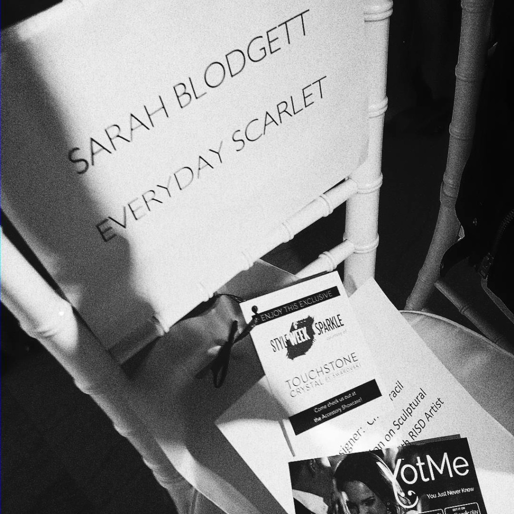 So honored to be in the Front Row/First Seat at @styleweek ... even if my blog is spelled wrong... I'll be Scarlet tonight