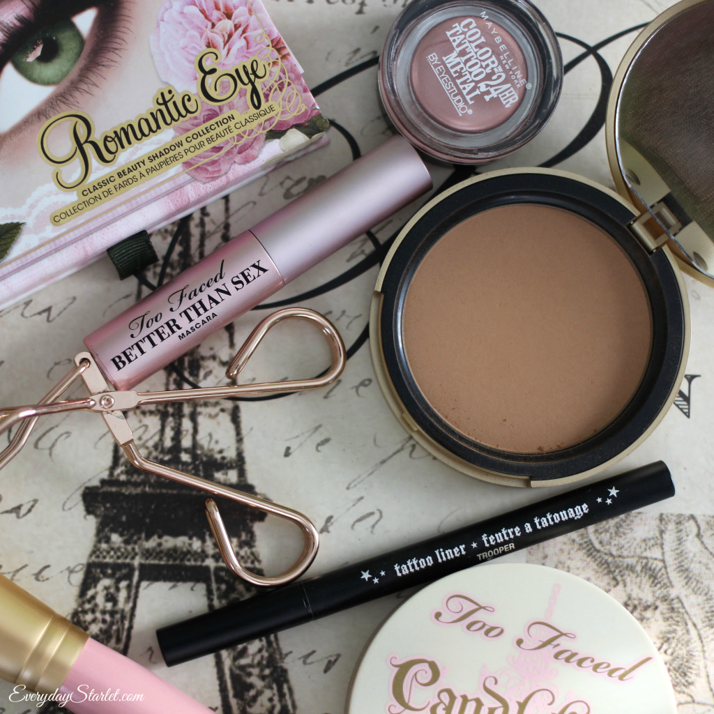 Too Faced Romantic Eyes, Candlelight Glow, Better Than Sex Mascara Valentine's Day Romantic Makeup Tutorial