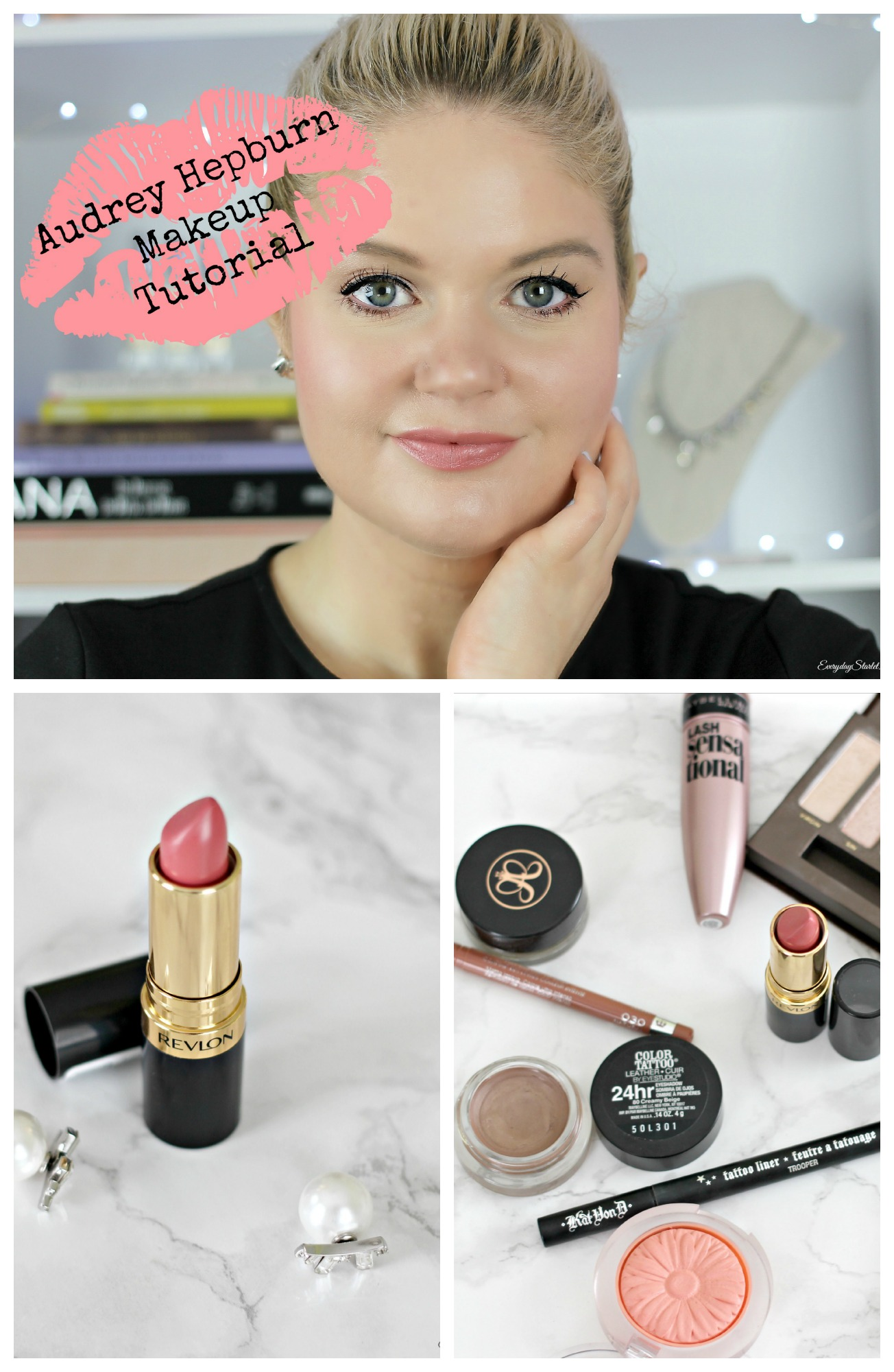 Everyday makeup look inspired by audrey hepburn in breakfast at ive seen so many audrey hepburnbreakfast at tiffanys makeup tutorials and while i love seeing everyones interpretation of the look they all seem to be baditri Gallery