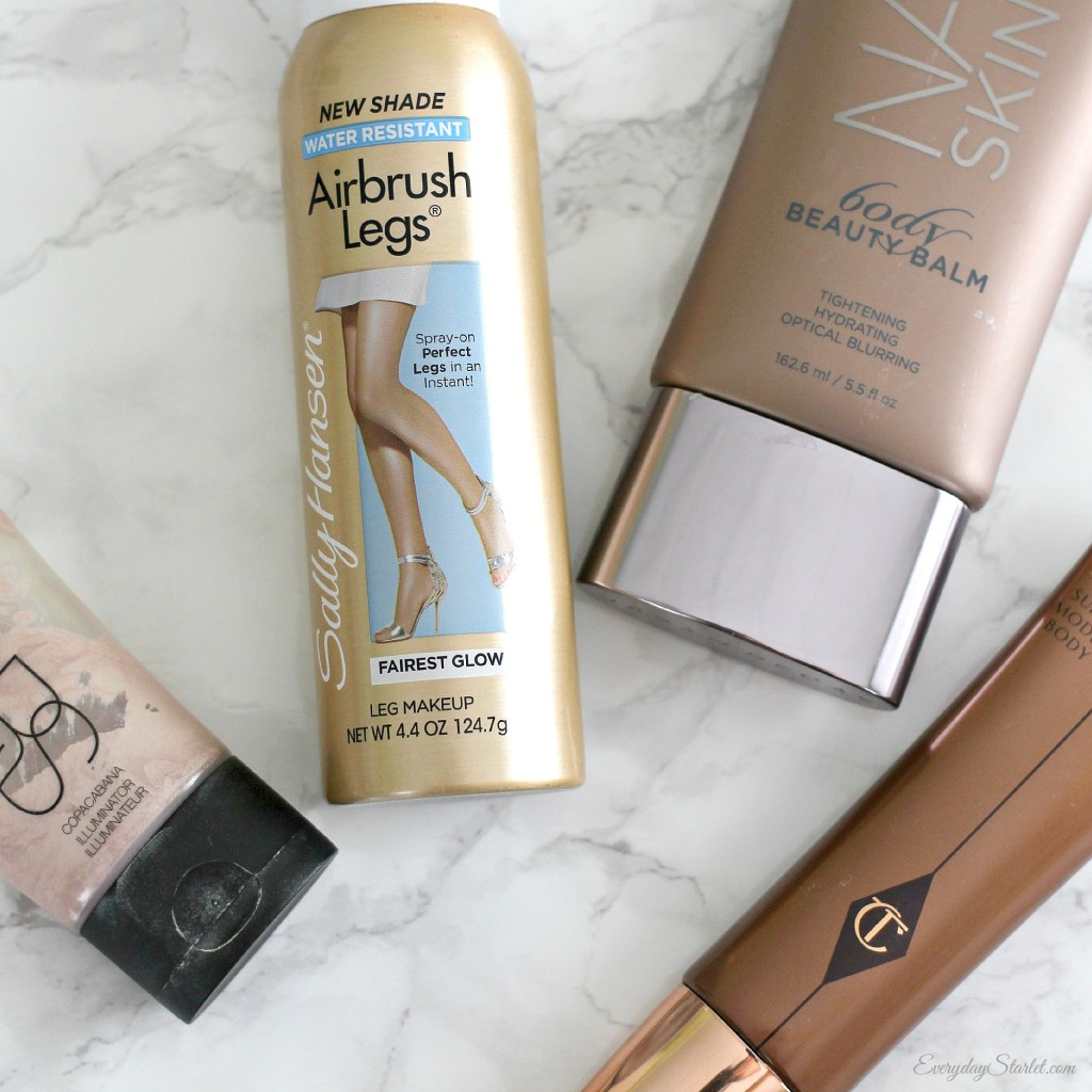 Body Makeup Review, Urban Decay Naked, Charlotte Tilbury Supermodel Body, Sally Hansen Airbrush Legs, Nars illuminator Copacabana