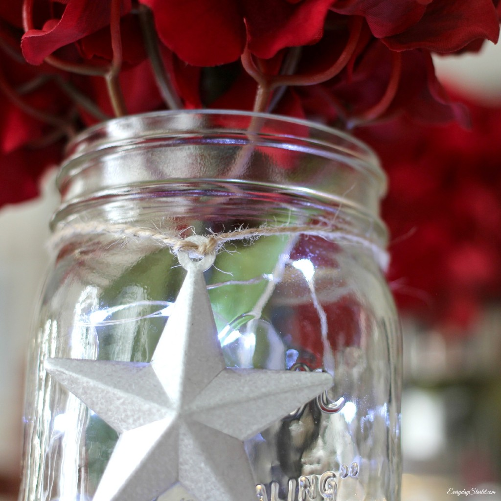 DIY Rustic Glamour 4th of July Tabelscape Target, Mason Jars, Stars