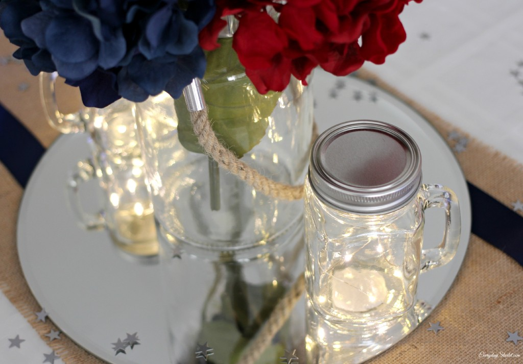 DIY Rustic Glamour 4th of July Tabelscape, Michaels, fairy lights