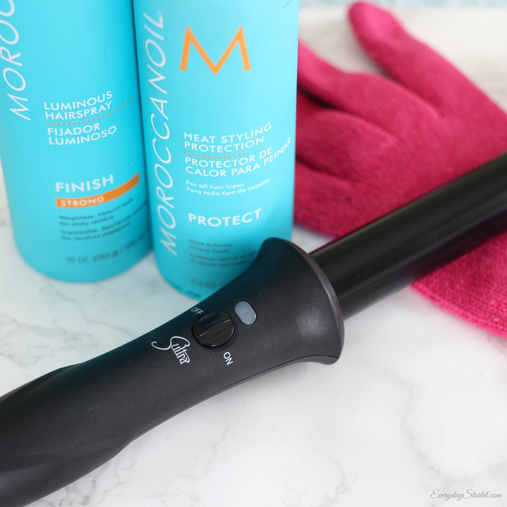 Moroccan oil heat spray, luminous hairspray, sultra clipless bombshell curling iron
