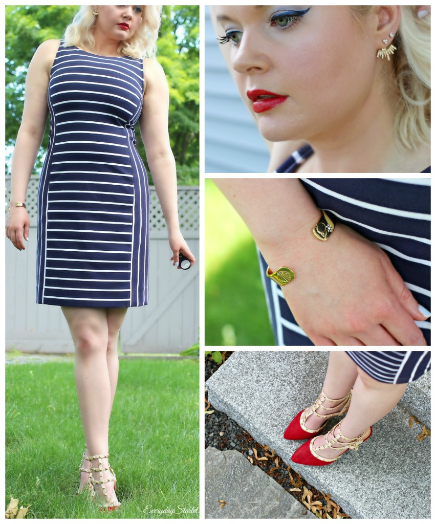 4th of July Fashion, Outfit, Navy Striped dress, Red White and Blue outfit fashion