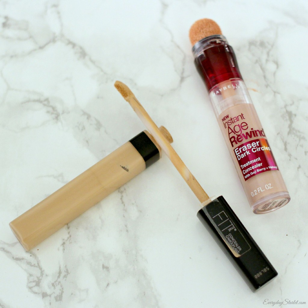 under eye concealer for dark circles., Maybelline Fit Me Concealer in Light, Maybelline Age Rewind Dark Circle Corrector in Brightener