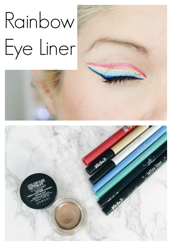 Pot of Gold at the End of the Rainbow Eye Liner Makeup Look, perfect for any St. Patrick's Day party or even a Gay Pride Parade