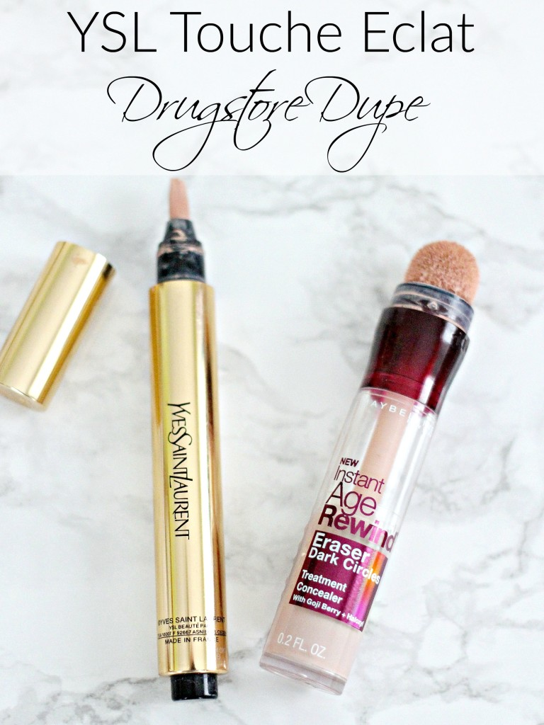 YSL Touche Eclat Dupe..Drugstore Dupe? YSL Touche Eclat vs Maybelline Instant Age Rewind Brightener