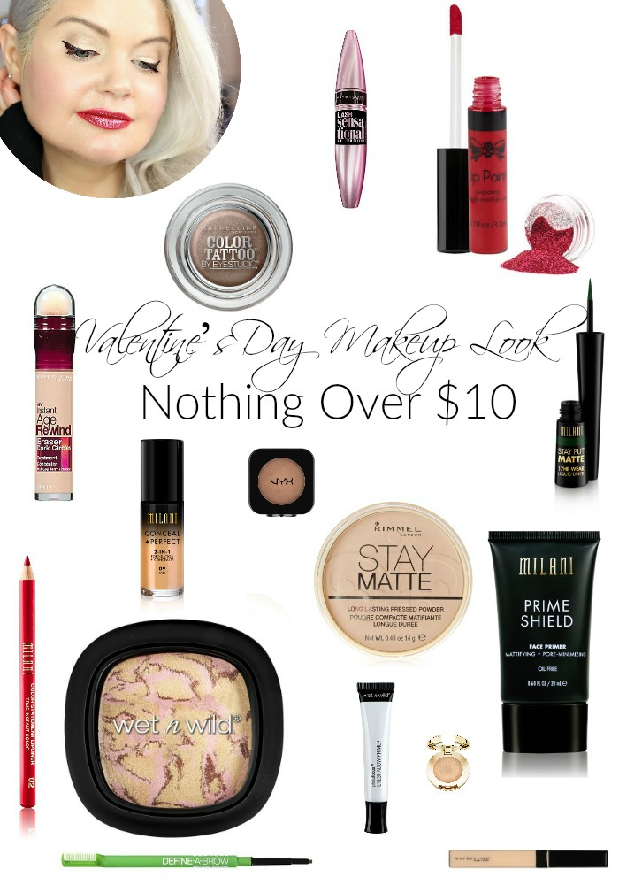 Nothing Over $10 | Valentine's Day Glitter Lips Makeup Look